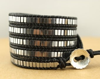 Shining 5X Wrap Bracelet Hematite Beads&Black Leather Wrap Bracelet,Handmade Square Hematite Beaded Wrap Bracelet,Multi LeatherWrap Bracelet