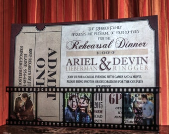 Custom Rehearsal Dinner Invitation with Film Strip
