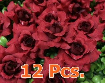 12 Red Rose Heads,5 cm.  for  Accessories   Decorations Wedding Crafts Headband