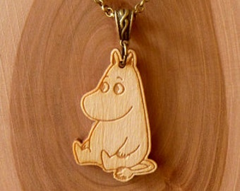 Wooden Moomin Necklace (Moomintroll - sitting)