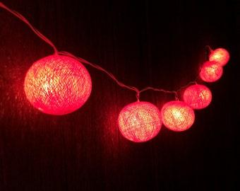 20 x Dark orange cotton ball string light for decor ,bedroom, wedding, party, garden,lamp,lantern