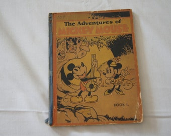 Vintage 1931 - The Adventures of Mickey Mouse Book 1 with taped binding