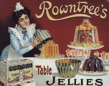 Rowntrees Table Jellies Vintage Advertising Enamel Metal TIN SIGN Wall Plaque