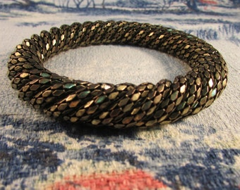1980s twisted gold-tone rope bangle