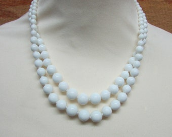 Mid-century white milk glass double strand graduated bead collar necklace