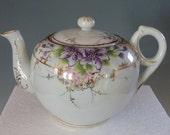 Porcelain Japanese Teapot with purple flowers