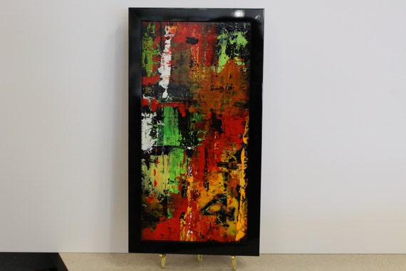Abstract Wall Art Bright Green Red Yellow Black Plus Many