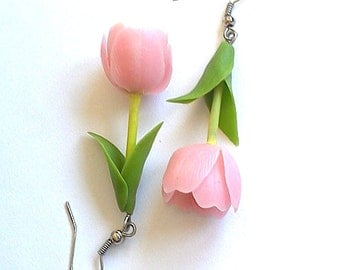 """Earrings """"Tulpis""""- Flower jewelry - Rose flowers - Floral fashion"""