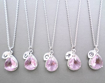 Set of 5-10, Personalized, Letter, Initial, Pink, Glass, Silver, Necklace, Sets, Wedding, Bridesmaid, Bride, Gift, Jewelry