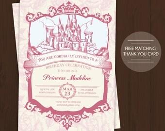 Princess Birthday Invitation, Vintage Royal Castle Princess Birthday Party Invitation and Free Matching Thank You Card