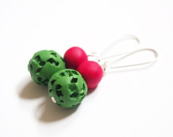 Beaded Earrings ( dangle earrings, red earrings, summer earrings, green earrings, polymer clay jewelry, silver earrings, handmade earrings )