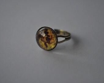 Small Map Round Retro Bronze Ring