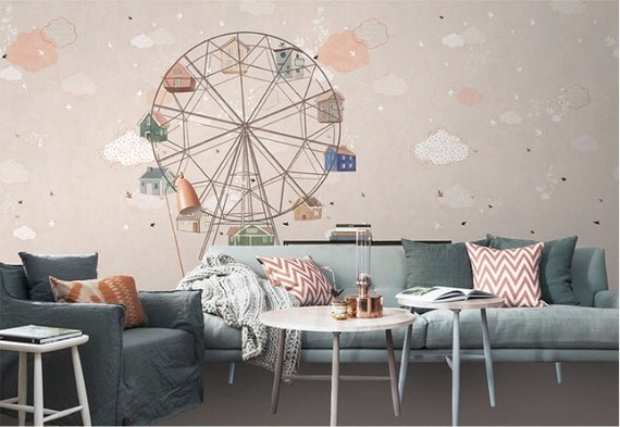 Ferris Wheel Wallpaper Nude Blue Apricot Wall Mural Ceiling