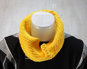 Handmade Cowl Neckwarmer Scarf  Yellow Colored Acrylic Blend,Hand Knit Cowl Scarf, Chunky Knit Cowl Scarf, Hand Knit  for Women or Men