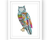 Printable owl poster, owl print, owl illustration wall art, printable wall art, 8 x 10, instant download, home decor, digital poster