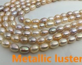 VERY RARE,6-7mm Metallic luster rice pearl strand,high luster freshwater pearls,approx 46pcs, loose freshwater pearl,rice pearl,wholesale