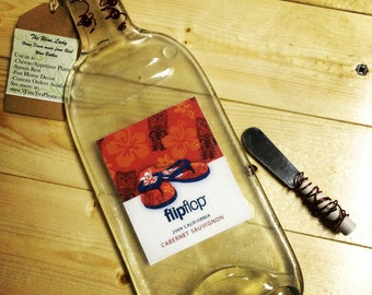 Flip Flop Melted Wine Bottle Cheese Tray / Wine Bottle Spoon Rest / Recycled Wine Bottle