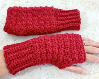 Wool Fingerless Gloves Cranberry Red, Wool Blend Wrist Warmers Hand Crochet Adult Teen Size Small Fingerless Mitts, Handmade Gifts Under 20