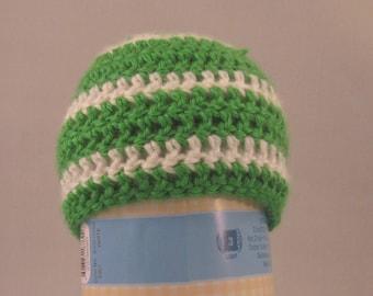 Green Stripe Beanie, Newborn, Crochet