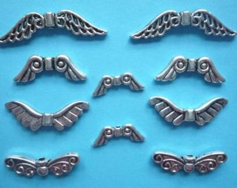 Wing beads, metal, antique silver