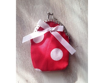 Polka bow coin purse