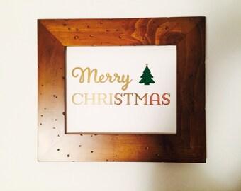 Merry Christmas Gold Foil Print, Christmas Decor