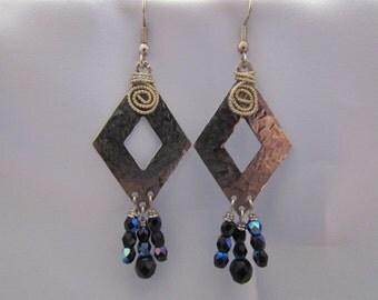 Hammered Diamond shape Dangle Earrings
