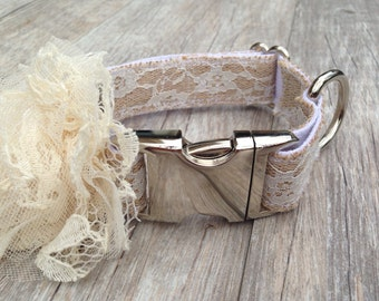 Wedding Burlap dog collar with lace flower