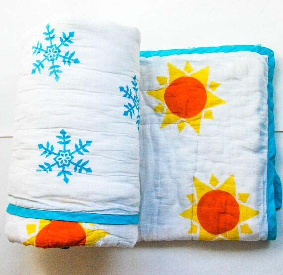 "Handmade reversible cotton quilt - 45"" x 60"" - Sun & Snowflakes"