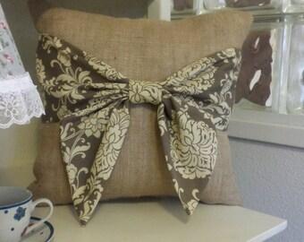 Burlap Bow Pillow 16x16