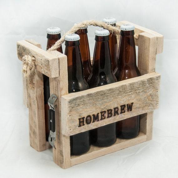 beer caddy six pack holder beer tote rustic wedding gifts. Black Bedroom Furniture Sets. Home Design Ideas