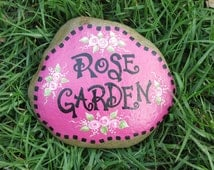 Painted Rose Garden rock, stone decoration, Flower Painting