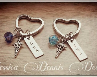 RN * CNA * LPN* Nurse* Keychain * Heart * Personalize if you'd like * Sparkle bead