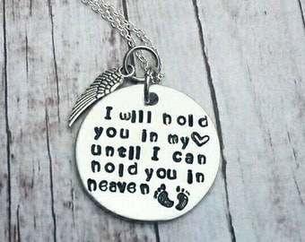 Baby loss keepsake necklace * Child loss * Mother's necklace * Angel wing style may vary * Baby feet