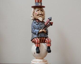 Uncle Sam Primitive Folk Art Woodcarving
