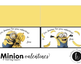 Valentine's Day Despicable Me Minion Treat Bag Toppers Valentines, Digital File, Instant Download