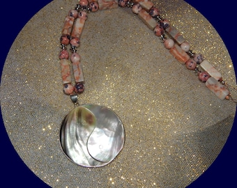 Now on Clearence Yin-yang shell pendant on red line marble and dyed agate bead necklace
