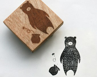 """Animal Rubber Stamp of bear,  mounted on a wooden block, Original design 2""""x2"""""""