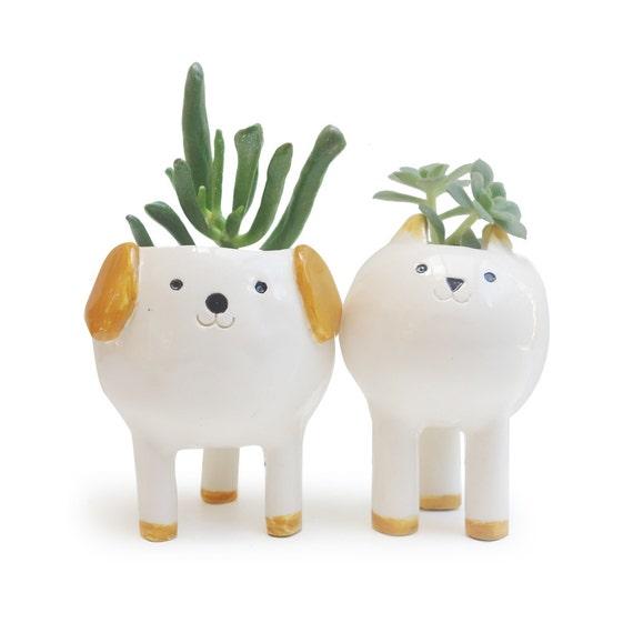 Cute Cat And Dog Planters Pair Of Desktop Plant Pots