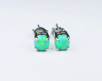 4MM-5MM Green Fire Opal Earring Studs 316L Surgical Steel (pair)