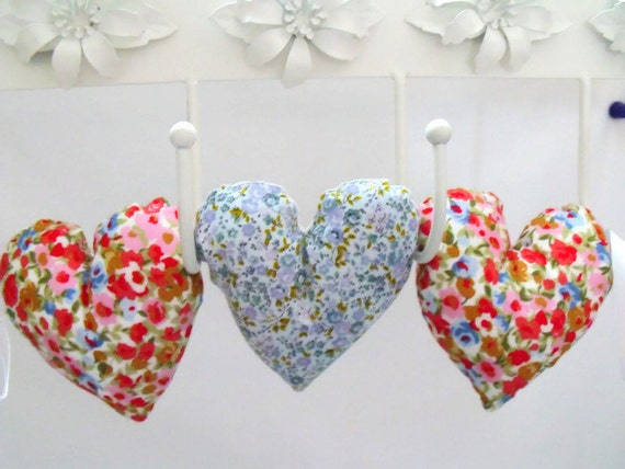 decorative fabric hanging heart garland, hanging decoration, floral print decorative plush hearts, wall decor