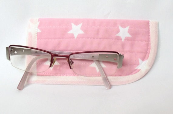 childs glasses case, quilted spectacle holder, sunglasses cover, eyeglasses case, quilted glasses protector, glasses holder, pink and white