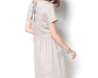 Linen dress/Women summer linen dress/Literary style dress with bud/thin dress(D0214)