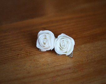 White Rose Earrings Stud - White Wedding Jewelry, White Rose Bridesmaid Jewelry, White Flower Earrings