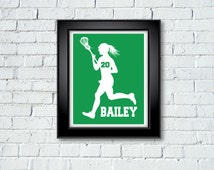 Women's Girl's Ladie's LACROSSE Custom Personalized Player Artwork - Perfect gift for your Lady Laxer!