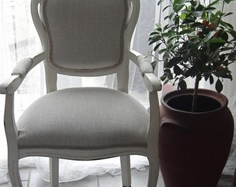 French Style Shabby Chic Bedroom/Dining Chair Carver In Heavy Natural Linen Fabric