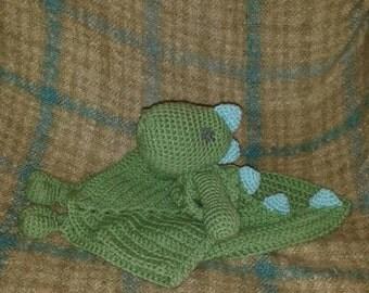 crochet dinosaur lovey blanket - choose your colors