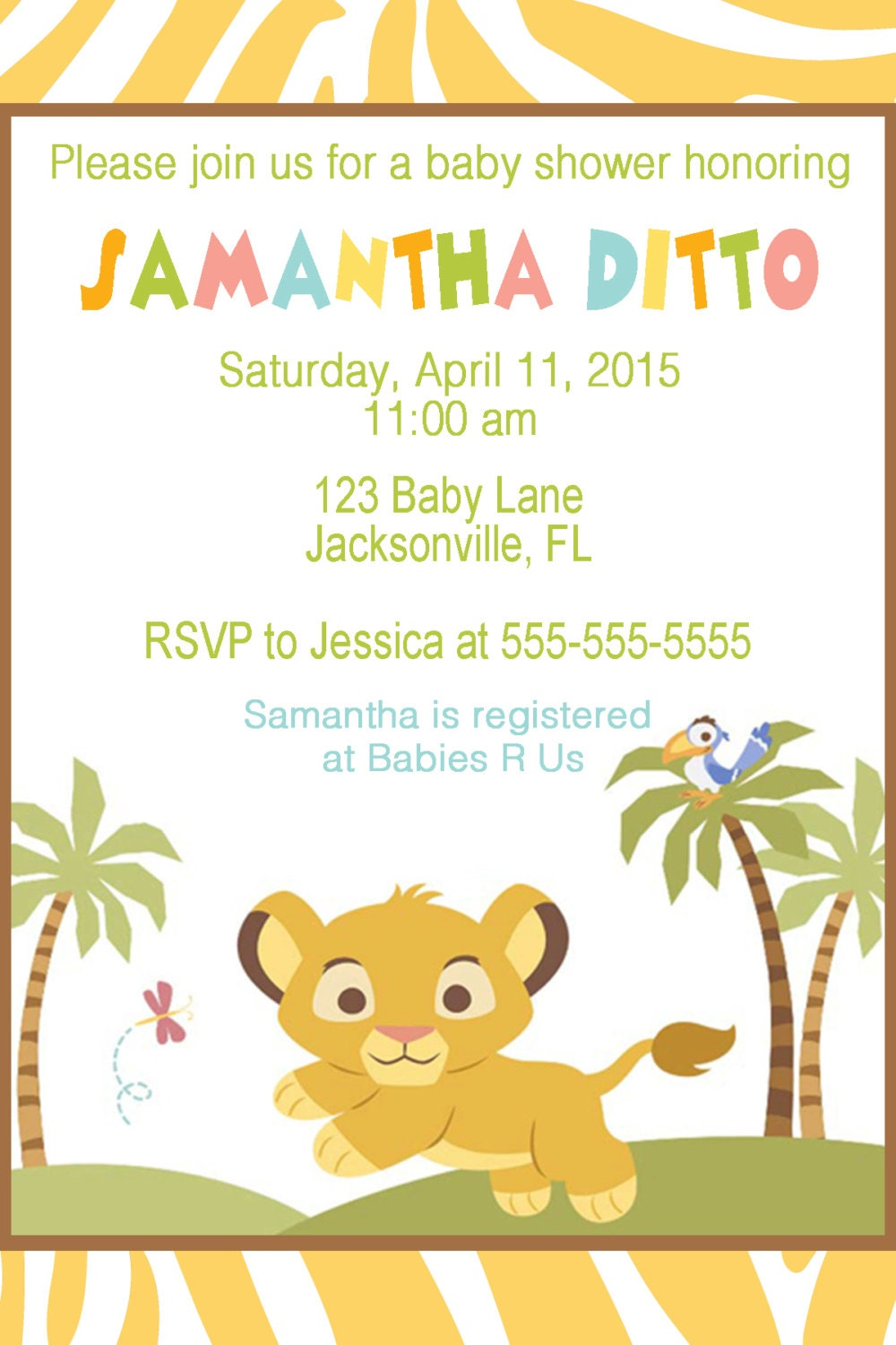 lion king baby shower invitation by jessicaspartyprints on etsy