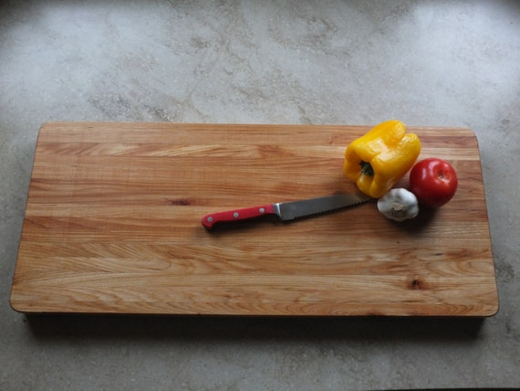Hickory Cutting Board, Edge Grain. This is a beautiful wedding, housewarming or chef's gift. Very large, great for gourmet kitchen