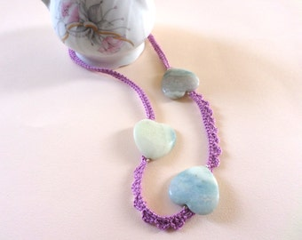 Crochet Necklace, Handmade Necklace, Semiprecious Stone, Amazonite, Romantic Necklace, Valentine's Day, Romantic Jewelry